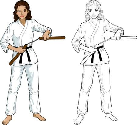 black belt: Young healthy Indonesian girl armed with nunchuck in karategi vector illustration colored and lineart Illustration