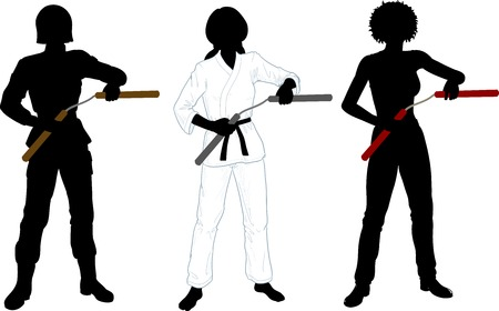 black empowerment: Young healthy girl armed with nunchuck in uniform vector illustration set of silhouettes Illustration