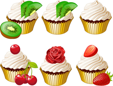 cupcakes isolated: Set of cupcakes in golden cup with kiwi cherry strawberry iced rose isolated vector illustration Illustration