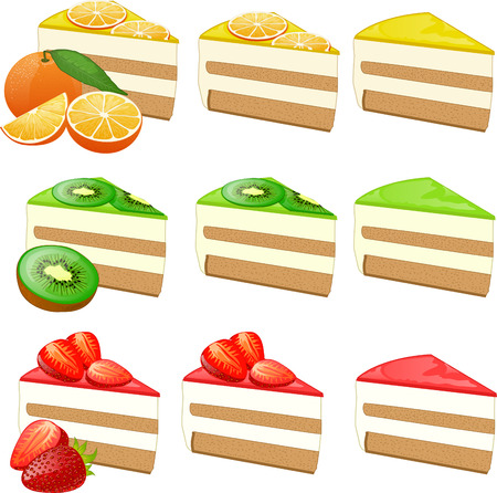 stuffing: Piece of cake with jelly and fruit orange kiwi strawberry slices set of isolated vector illustrations