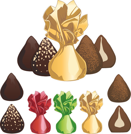 chocolate truffle: Truffle chocolate candies set of isolated vector illustrations