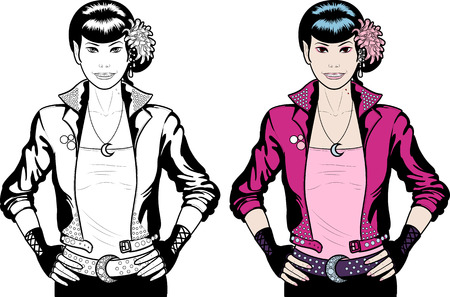 sexy costume: Asian Vampire Punk Rock girl Halloween character comics style lineart and colored
