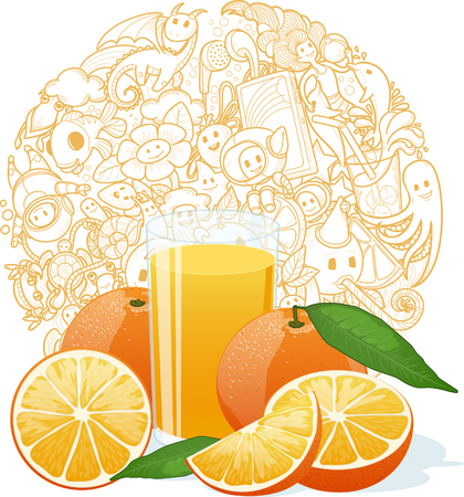 fruit juice: Fresh orange juice fruit and slices on funny doodles texture background illustration
