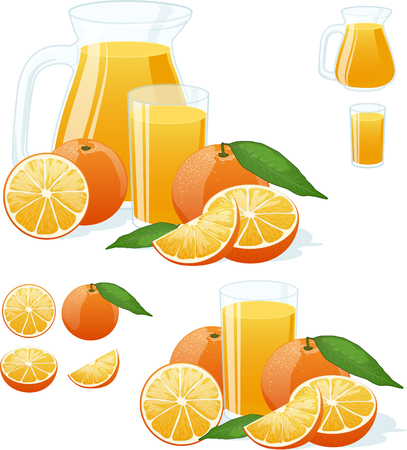 orange juice: glass and pitcher of fresh orange juice with juicy fruits isolated illustrations set