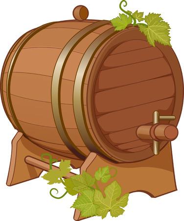 tun: Wine cask with vine isolated vector illustration Illustration