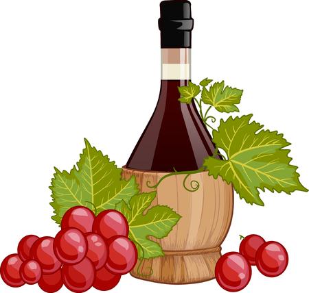 Vino en botella fiasco italiano decorado con ilustración vectorial las uvas rojas aisladas