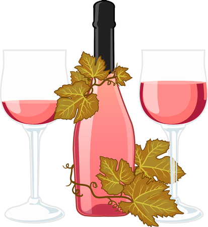 no label: Rose wine bottle with no label and two filled glasses decorated with vine isolated vector illustration Illustration