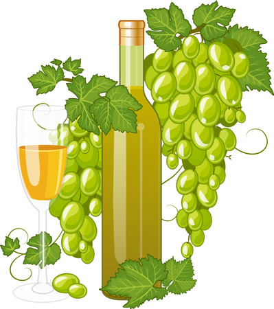 white riesling grape: White wine bottle and wineglass decorated with green grapes isolated vector illustration Illustration