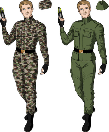 harmless: Caucasian male in green khaki military uniform holds taser isolated vector illustration  in retro action comics style
