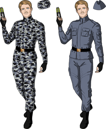 harmless: Caucasian male in gray khaki military uniform holds taser isolated vector illustration  in retro action comics style Illustration