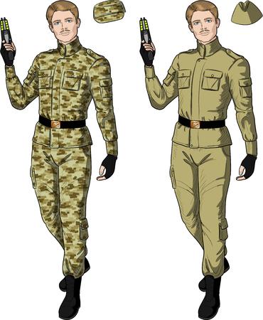 varón caucásico con uniforme militar de color caqui de arena mantiene ilustración vectorial aislado Taser en el estilo de los cómics de acción retro Ilustración de vector