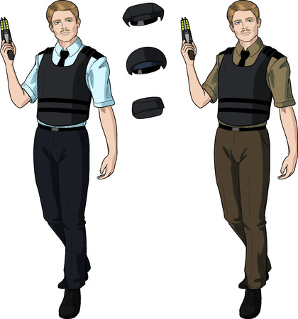 security uniform: Caucasian male in police or security uniform with short sleeves and bulletproof vest holds taser isolated vector illustration  in retro action comics style