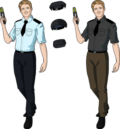 harmless: Caucasian male in police or security uniform with short sleeves holds taser isolated vector illustration  in retro action comics style