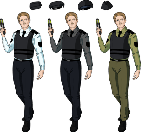 security uniform: Caucasian male in police or security uniform and bulletproof vest holds taser isolated vector illustration  in retro action comics style