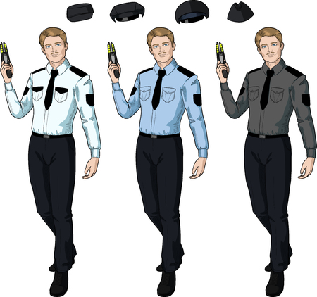 security uniform: Caucasian male in police or security uniform holds taser isolated vector illustration in retro action comics style Illustration