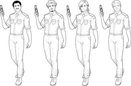 security uniform: male in police or security uniform with short sleeves holds taser isolated vector illustration hand drawing line art in retro action comics style Illustration