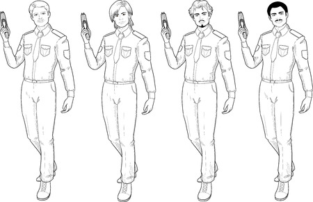 fila de personas: masculina en la policía o uniforme de valores tiene el arte aislado ilustración vectorial línea de dibujo a mano Taser en estilo cómic de acción retro