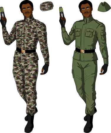 military uniform: African male in green khaki military uniform holds taser isolated vector illustration  in retro action comics style