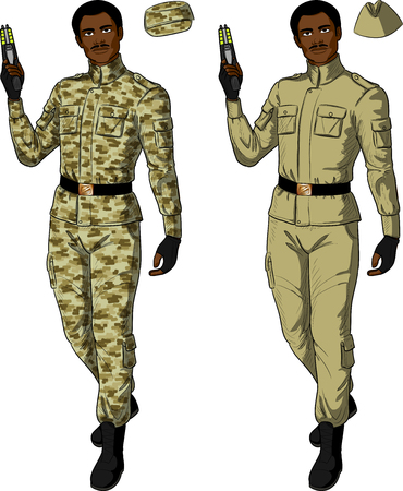 humane: African male in sand khaki military uniform holds taser isolated vector illustration  in retro action comics style