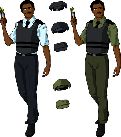 security uniform: African male in police or security uniform with short sleeves and bulletproof vest holds taser isolated vector illustration  in retro action comics style
