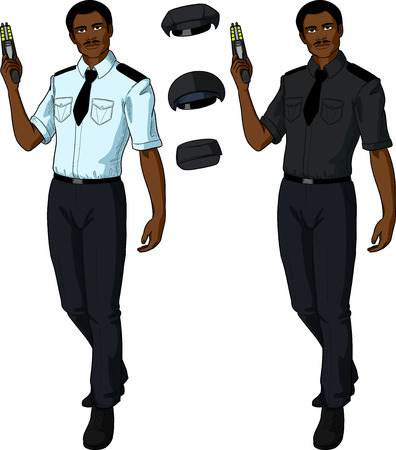 security uniform: African male in police or security uniform with short sleeves holds taser isolated vector illustration  in retro action comics style