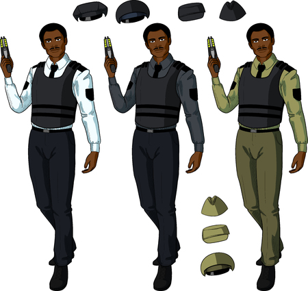 security uniform: African male in police or security uniform and bulletproof vest holds taser isolated vector illustration  in retro action comics style