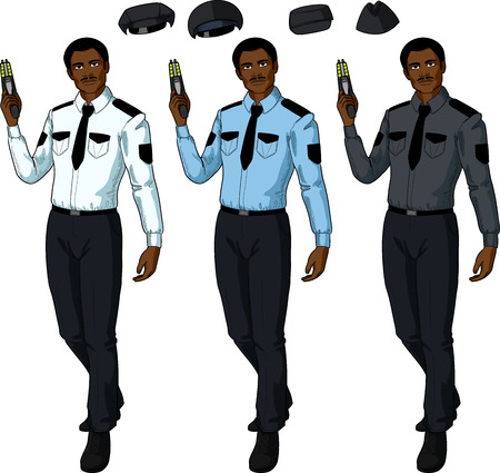 security uniform: African male in police or security uniform holds taser isolated vector illustration in retro action comics style