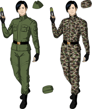 harmless: Asian male in green khaki military uniform holds taser isolated vector illustration  in retro action comics style