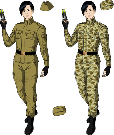humane: Asian male in sand khaki military uniform holds taser isolated vector illustration  in retro action comics style