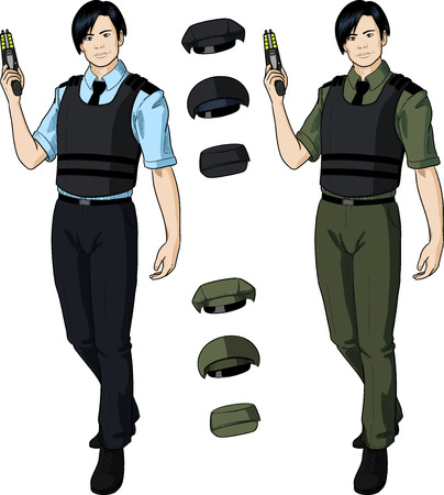 bulletproof vest: Asian male in police or security uniform with short sleeves and bulletproof vest holds taser isolated vector illustration  in retro action comics style Illustration