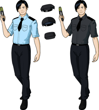 harmless: Asian male in police or security uniform with short sleeves holds taser isolated vector illustration  in retro action comics style