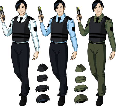 Asian male in police or security uniform and bulletproof vest holds taser isolated vector illustration  in retro action comics style