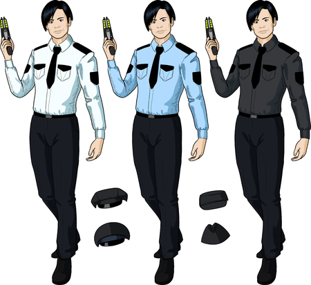 Asian male in police or security uniform holds taser isolated vector illustration in retro action comics style