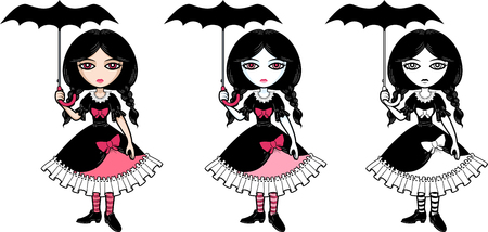 goth: Little goth emo girl with umbrella vector isolated colored and line art illustration
