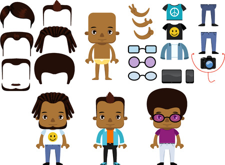 african american male: African American Male Hipster personal Avatar flat design character creation set vector isolated