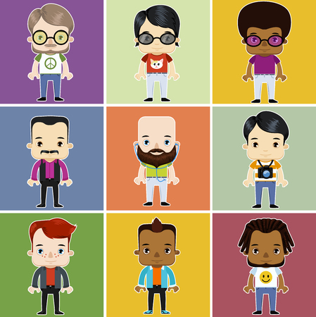ethnicity: Male Hipster personal Avatar African Asian Caucasian ethnicity flat design character set vector illustration Illustration