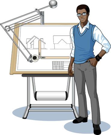 arquitecto caricatura: Arquitecto joven estudiante de raza africana que presenta su plano técnico ilustración vectorial sin fondo