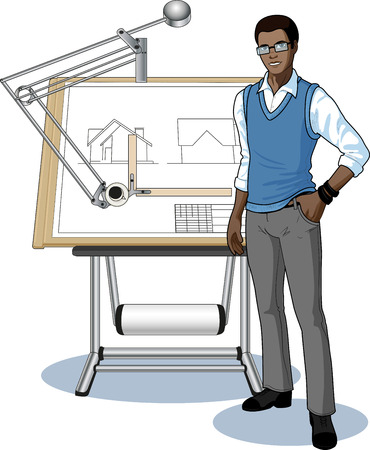 drawing board: Young architect student of African race presenting his blueprint vector illustration no background Illustration