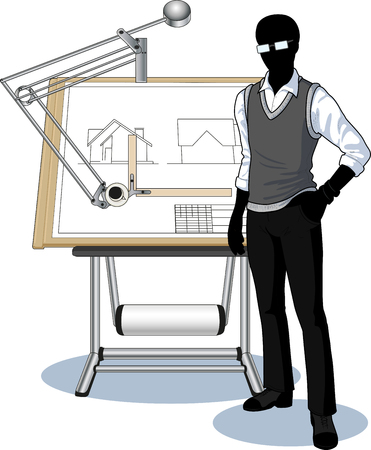 Silhouette architect student presenting his blueprint vector illustration no background Illustration
