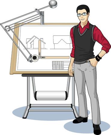 arquitecto caricatura: Arquitecto joven estudiante de raza asiática que presenta su plano técnico ilustración vectorial sin fondo