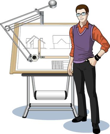 arquitecto caricatura: Arquitecto joven estudiante de raza caucásica que presenta su plano técnico ilustración vectorial sin fondo