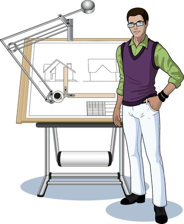 arquitecto caricatura: Joven estudiante de Indonesia, el arquitecto que presenta su plano técnico ilustración vectorial sin fondo Vectores