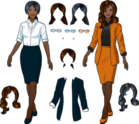 etnia: Hermoso de negocios de etnia africana en ropa formal elegante para la oficina del vector aislado conjunto variación ilustraciones Vectores