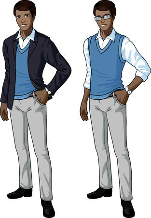 office clerk of African ethnicity in casual formal wear for office vector isolated illustrations variation set Illustration