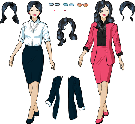 Beautiful businesswoman of Asian ethnicity  in elegant formal wear for office vector isolated illustrations variation set