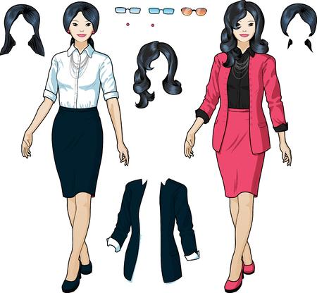 personas de pie: Hermoso de negocios de origen asiático en ropa formal elegante para la oficina del vector aislado conjunto variación ilustraciones