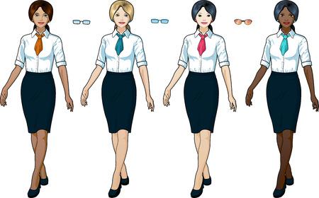 Beautiful businesswoman in elegant formal wear for office vector isolated illustrations multi-ethnic variation set Illustration