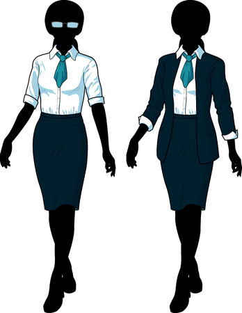 variation: Beautiful businesswoman Silhouette in elegant formal wear for office vector isolated illustrations variation set Illustration