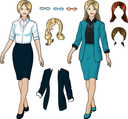 Beautiful businesswoman of Caucasian ethnicity in elegant formal wear for office vector isolated illustrations variation set