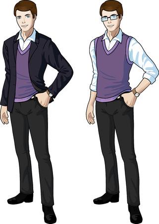 etnia: empleado de la oficina de la etnia caucásica en ropa formal casual para la oficina del vector aislado conjunto variación ilustraciones